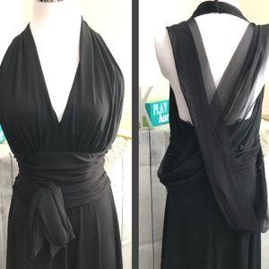 Maggy London Black Tie Halter Dress *29A*